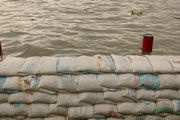 Photo of sandbags holding back flood waters