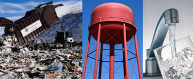 Ground Water Images: a truck at dump, a water tower, and water from a faucet