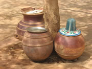 Storage jars from CDC's Safe Water System program at a mosque in Niger
