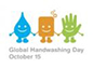 Global Handwashing Day logo - a cartoon logo water droplet, a bar of soap, and a hand holding hands