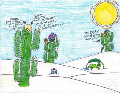 a picture drawn and colored with crayons by Sueda, a 6th grader from New Mexico showing several talking cacti commenting about a chameleon who is using a leaf as a shade and drinking dew collected from on top of the leaf.