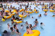 crowded wave pool