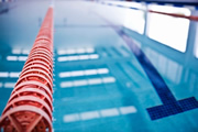 Close-up of the lane line of a pool.