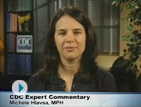 Video screenshot of Centers for Disease Control and Prevention expert commentary from Michele Hlavsa.
