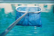 A closeup view of a pool net.
