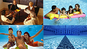 Collage of photos: conference room, family on raft in pool, family under water in pool, and swim lane in pool