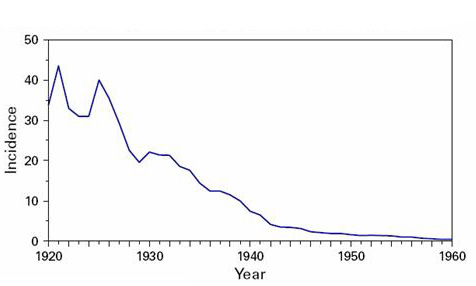 Incidence of Typhoid Fever, 1920-1960.  With the implementation of disinfection methods of drinking water, there has been a drastic decline in cases of typhoid fever in the United States. In 1920, the incidence of typhoid fever in the U.S. was 33.8 per 100,000 population, which was a decrease from approximately 100 per 100,000 population in 1900. In 1930, the incidence was less than 20 per 100,000 population; in 1940, it was less than 8 per 100,000; and by 1960 the incidence of typhoid fever in the U.S. was less than 1 per 100,000.