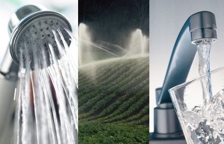 collage showing a faucet, a shower, and irrigation