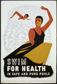 vintage public health poster about swimming in healthy and clean pools