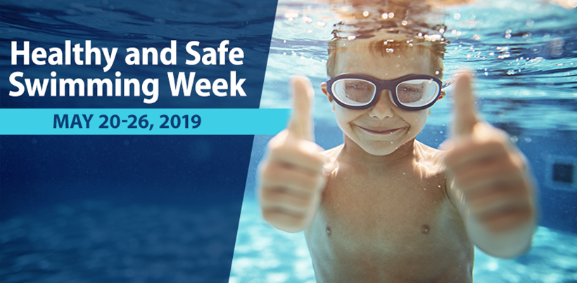 Healthy and Safe Swimming Week 2019 - image of kids and parents playing in a swimming pool