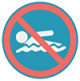 Icon graphic of a warning sing for beach clouser