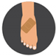 Icon graphic of a foot with a band-aid