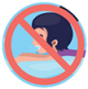 Icon graphic of a  child in a pool with a warning to not drink pool water