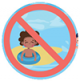 Icon graphic of a child in a pool with a warning to not pee in the pool