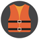 Icon graphic of a kids life jacket
