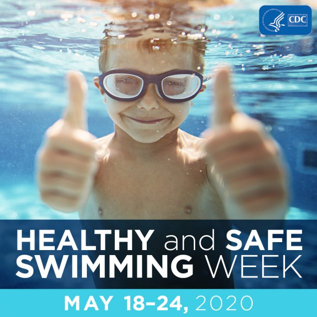Healthy and Safe Swimming Week with boy giving thumbs up sign
