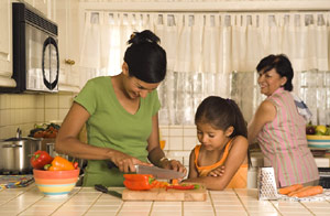 family preparing a meal