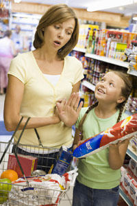 Mom and daughter at the grocery store