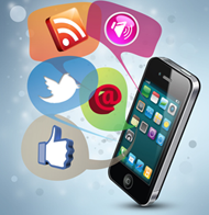 social media icons and iphone