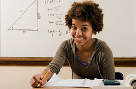 african american female teen in math class