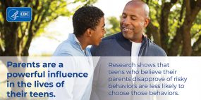 Infographic: Parents are a powerful influence in the lives of their teens. Research shows that teens who believe their parents disapprove of risky behaviors are less likely to choose those behaviors.