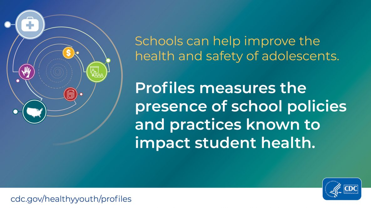 2018 School Health Profiles Infographic: Schools can improve the health and safety of adolescents. Profiles measures the presence of school policies and practices known to impact student health.
