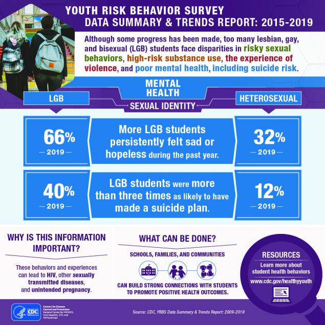 YOUTH RISK BEHAVIOR SURVEY DATA SUMMARY & TRENDS REPORT: 2015-2019: Although some progress has been made, too many lesbian, gay, and bisexual (LGB) students face disparities in risky sexual behaviors, high-risk substance use, the experience of violence, and poor mental health, including suicide risk.