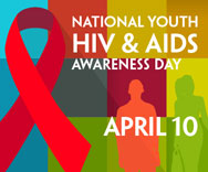 April 10th National Youth HIV/AIDS Awareness Day logo with red ribbon on multicolor background