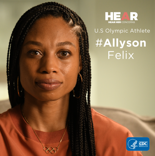 At 32-weeks pregnant, elite athlete Allyson Felix was diagnosed with severe preeclampsia – a potentially life-threatening pregnancy-related complication – and was sent to the hospital for an emergency c-section. Her story is not unique. As many as 50,000 women experience severe complications related to pregnancy each year. Know the warning signs and act quickly if they arise.   #HearHer #AllysonFelix