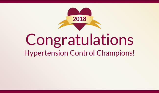 Congratulations 2018 Million Hearts Hypertension Control Challenge Champions!