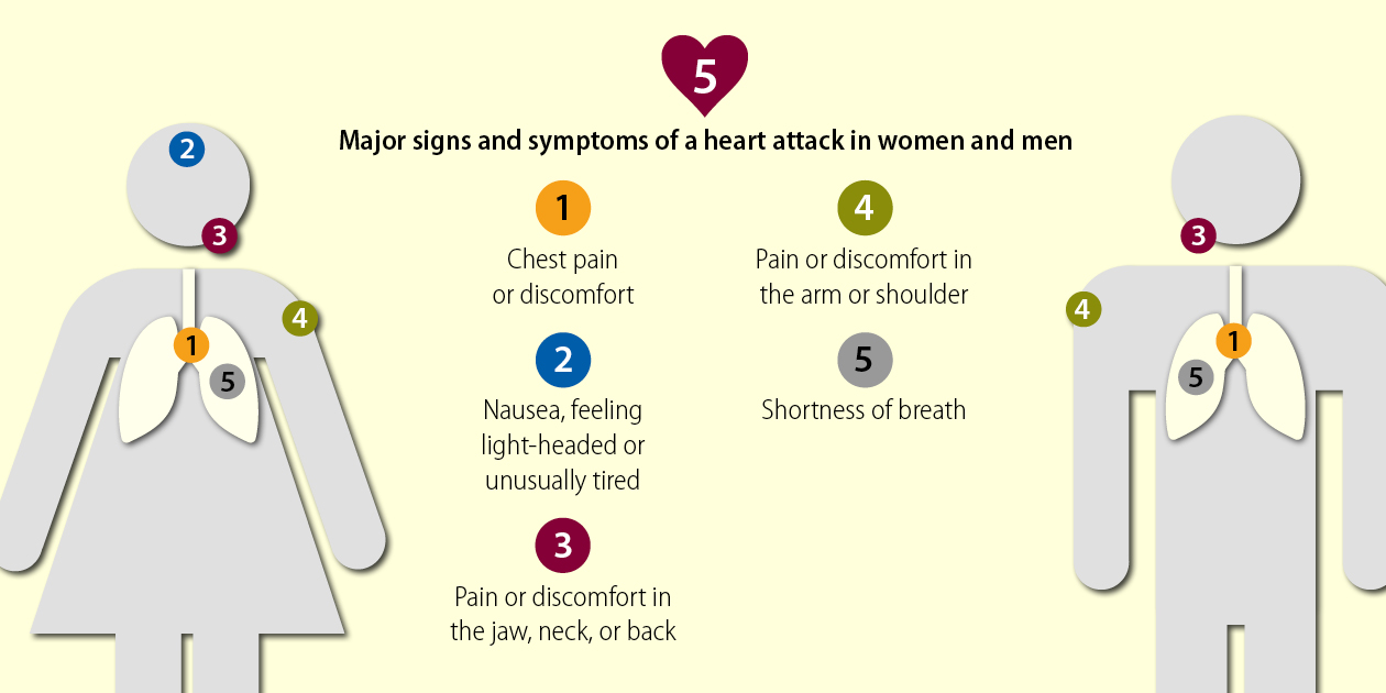 Major signs and symptoms of a heart attack in women and men. Chest pain or discomfort; nausea, feeling light-headed or unusually tired; pain or discomfort in the jaw, neck, or back; pain or discomfort in the arm or shoulder; and shortness of breath.