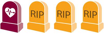 A series of headstones that say RIP.