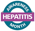 Seal with text, Hepatitis Awareness Month.