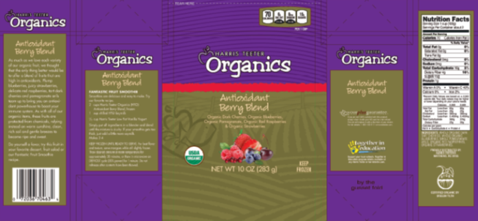 Product label from Harris Teeter Organic Antioxidant Berry Blend