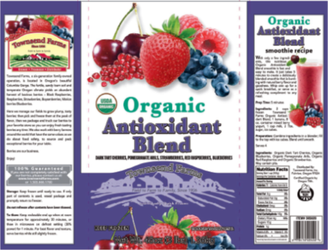 Product label from Townsend Farms Organic Antioxidant Blend