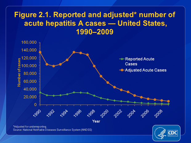 Figure 2.1. The number of reported acute hepatitis A cases decreased 93.7%, from 31,522 in 1990 to 1,987 in 2009. When adjusted for underreporting, the number of acute hepatitis A cases declined 93.3%, from 135,000 in 1990 to 9,000 in 2009.