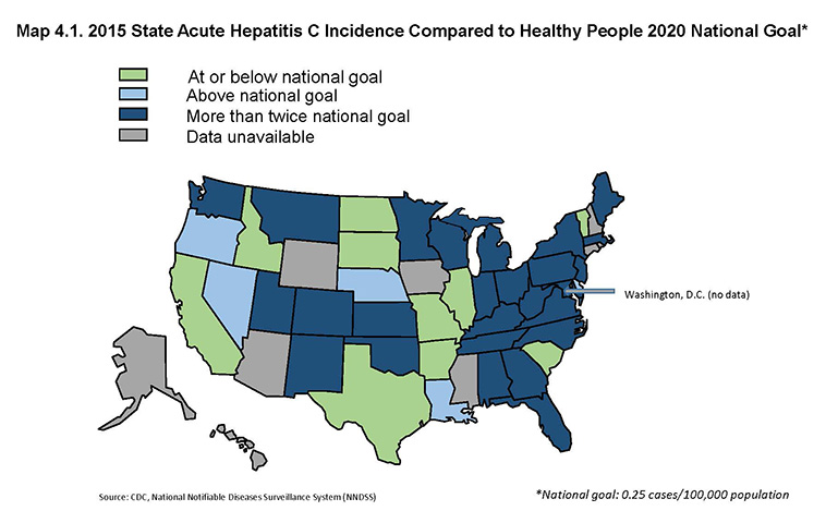 Map 4.1. 2015 State Acute Hepatitis C Incidence Compared to Healthy People 2020 National Goal