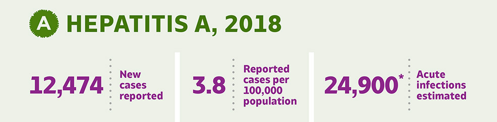 HEPATITIS A, 2018. 12,474 New cases reported. 3.8 Reported cases per 100,000 population. 24,900 Acute infections estimated
