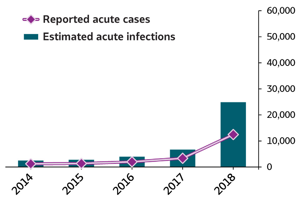 Bar/line chart Summary of Hepatitis A.  In 2018, 12,474 cases of hepatitis A were submitted to CDC, representing 24,900 estimated hepatitis A infections.  The number of reported cases and estimated infections of hepatitis A remained stable from 2014 through 2015 and increased from 2015 through 2018, with the greatest increase (3-fold) between 2017 and 2018.