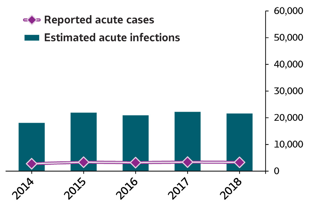 Bar/line chart Summary of Hepatitis B . In 2018, 3,322 cases of acute hepatitis B were submitted to CDC, representing 21,600 estimated acute hepatitis B infections.  The number of reported cases and estimated infections of acute hepatitis B remained stable from 2014 through 2018.