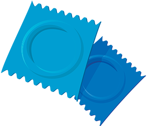illustration of two condoms in wrappers