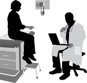 illustration of a patient speaking with a doctor in an exam room
