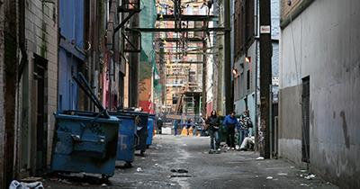 photo of an alley in a city