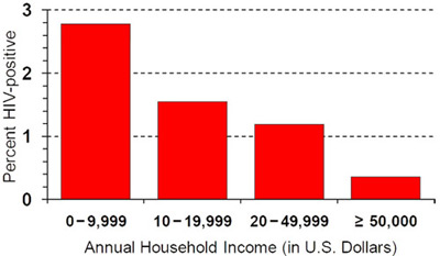 Bar chart: The x-axis reflects Annual Household Income (in U.S. Dollars) and the y-axis reflects Percent HIV-positive. The first bar starts at zero $0-9,999 ends at 2.7%, the second bar $10-19,999 ends at 2.5%, the third bar $20-49-999 ends at 1.2% and the last bar $ greater than $50,000 ends at .4%.