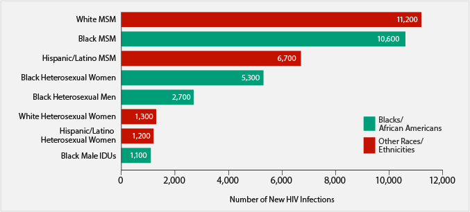 African Americans fact sheet: Chart of the estimates of new HIV infections in the US for most affected subpopulations, 2010. 11,200 among White MSM; 10,600 among Black MSM; 6,700 among Hispanic/Latino MSM; 5,300 among Black Heterosexual Women; 2,700 among Black Heterosexual Men; 1,300 among White Heterosexual Women; 1,200 among Hispanic/Latino Heterosexual Women; 1,100 among Black Male IDUs.