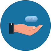 icon of a hand holding a PrEP pill
