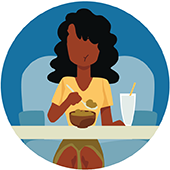 icon of a woman eating