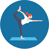 icon of a woman in a yoga stretch pose