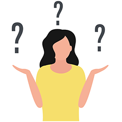 icon of a woman surrounded by question marks