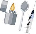 icon of a lighter, spoon and syringe